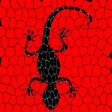 Black lizards with red background Stock Image