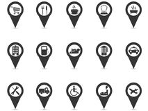 Black location place gps pin icons set. Isolated black location place gps pin icons set from white background Royalty Free Stock Image