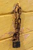 Black lock chain fastens metal industrial box Stock Photos