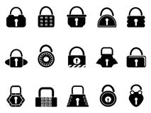 Black lock icons set Stock Photography
