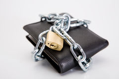 Black locked wallet Stock Photography