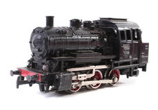 Black locomotive. On white background Royalty Free Stock Image