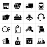 Black Logistic, cargo and transportation icons. Vector icon set royalty free illustration