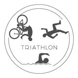 Black logo triathlon. Vector figures triathletes. Black logo triathlon. Vector figures triathletes on a white background. Line figure triathlon athletes. Swim Stock Photo