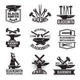 Black logos for blacksmith. Vintage labels set. For workshop, forge and metal equipment hammer illustration Stock Photo