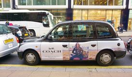 Black London Taxi Cab. On Oxford Street in Downtown London, UK stock photos