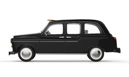 Black London Taxi. Isolated on white background. 3D Render royalty free illustration