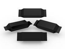 Black long rectangle packet with clipping path Stock Photo