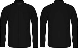 Black Long sleeve shirt. Front and back view Royalty Free Stock Photos