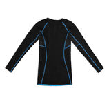 Black long sleeve sports shirt with blue seams isolated on white Royalty Free Stock Images