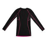 Black long sleeve sports shirt with pink seams isolated on white. Background Royalty Free Stock Photos