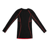 Black long sleeve sports shirt with red seams isolated on white Royalty Free Stock Photo