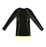 Black long sleeve sports shirt with yellow seams isolated on whi Royalty Free Stock Photography