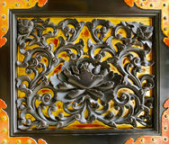 Black Lotus on Gold Door Decoration. Stock Image