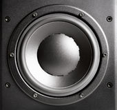 Black loudspeaker closeup Royalty Free Stock Images
