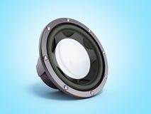 Black loudspeaker 3d render on blue bacground. Black loudspeaker 3d render on blue Royalty Free Stock Images