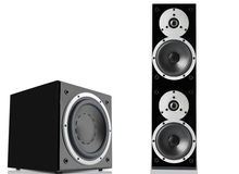 Black loudspeaker and subwoofer Stock Photo
