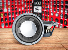 Black loudspeakers 3d render on wood flor car sound. Black loudspeakers 3d render on wood flor car Stock Photography