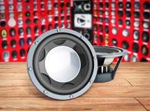 Black loudspeakers 3d render on wood flor car sound Stock Photography