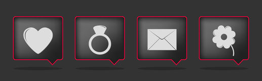 Black love badge icons Royalty Free Stock Image