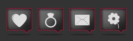 Black love badge icons Royalty Free Stock Image