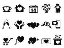 Black Love valentine day icons set Stock Photo