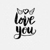 Black Love You Text on White Background Stock Photos