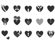 Black loving heart icon. Some black heart pattern icon for Valentine's Day Royalty Free Stock Photography