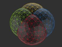 Black low poly spheres - red, green yellow and blue. Isolated on dark background Stock Images