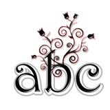 Black lower case letters A, B, C. With flowers and leaves Royalty Free Stock Images
