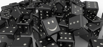 Black lucky dice Royalty Free Stock Image