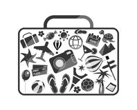 Black luggage composed from travel elements. Black and white luggage composed from different travel elements isolated on white background Stock Photos