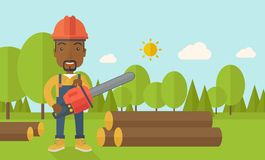 Black Lumberjack cuts a tree by chainsaw Stock Photography