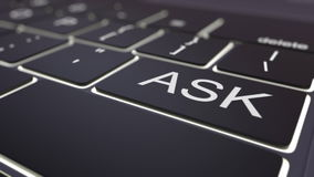 Black luminous computer keyboard and ask key. Conceptual 3D rendering Royalty Free Stock Image