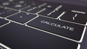Black luminous computer keyboard and calculate key. Conceptual 3D rendering Stock Photos
