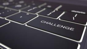 Black luminous computer keyboard and challenge key. Conceptual 3D rendering. Black luminous computer keyboard and challenge key. Conceptual 3D Stock Photography