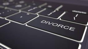 Black luminous computer keyboard and divorce key. Conceptual 3D rendering Stock Image