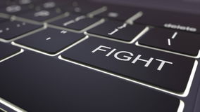Black luminous computer keyboard and fight key. Conceptual 3D rendering Stock Photography