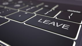 Black luminous computer keyboard and leave key. Conceptual 3D rendering Royalty Free Stock Images
