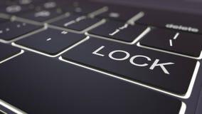 Black luminous computer keyboard and lock key. Conceptual 3D rendering. Black luminous computer keyboard and lock key. Conceptual 3D Royalty Free Stock Image
