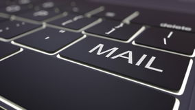 Black luminous computer keyboard and mail key. Conceptual 3D rendering Stock Photography
