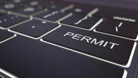Black luminous computer keyboard and permit key. Conceptual 3D rendering. Black luminous computer keyboard and permit key. Conceptual 3D Stock Image