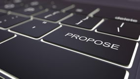 Black luminous computer keyboard and propose key. Conceptual 3D rendering Stock Photo