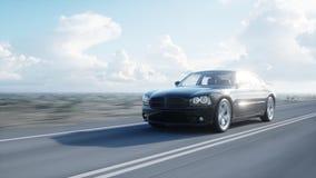 Black luxury car on road, highway. Daylight. Very fast driving. 3d rendering. Black luxury car on road, highway. Daylight. Very fast driving. 3d rendering royalty free illustration