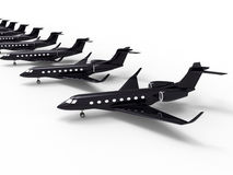 Black luxury private jet fleet. 3D render illustration of a black luxury private jet fleet. The composition is isolated on a white background with shadows Royalty Free Stock Image