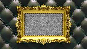 Black luxury upholstery on background. Tv noise and green chroma key plays on the screen in ornate gold picture frame. Tv noise on the screen in gold picture stock footage