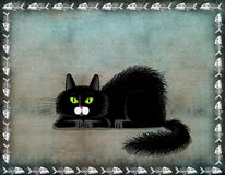 Black Lying Cat Stock Photo