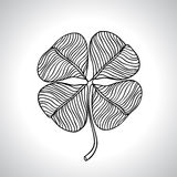 Black macro clover leaf natural isolated. Vector Royalty Free Stock Photography