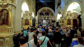 Black Madonna Chapel, Jasna Gora Monastery, Czestochowa, Poland. CZESTOCHOWA, POLAND - JUNE 12, 2018: The crowd of pilgrims in Chapel of Black Madonna - the stock video footage