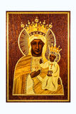 The Black Madonna. A wooden plaque with marquetry detail representing the revered icon of the Black Madonna of Częstochowa in Poland. Also known in Poland as ` Stock Photos
